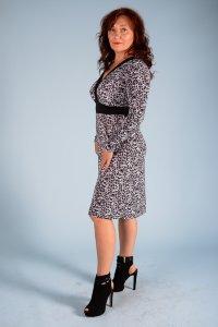 Платье леопард серый