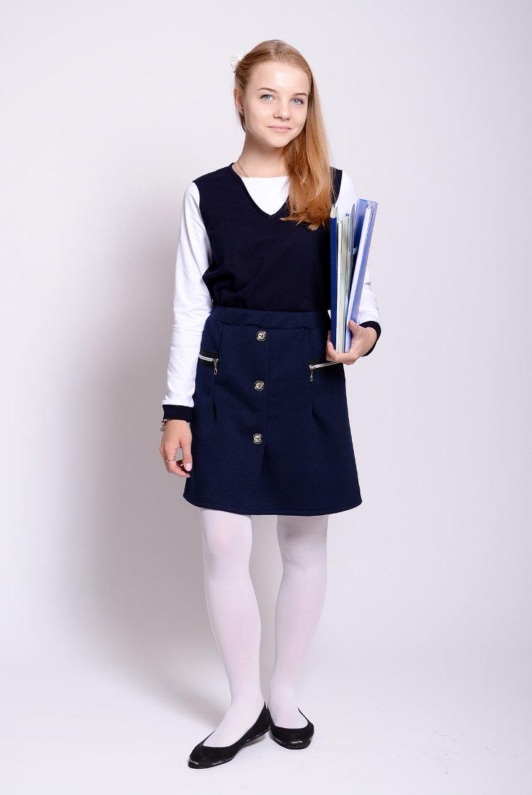 Купить школьную блузку синего цвета
