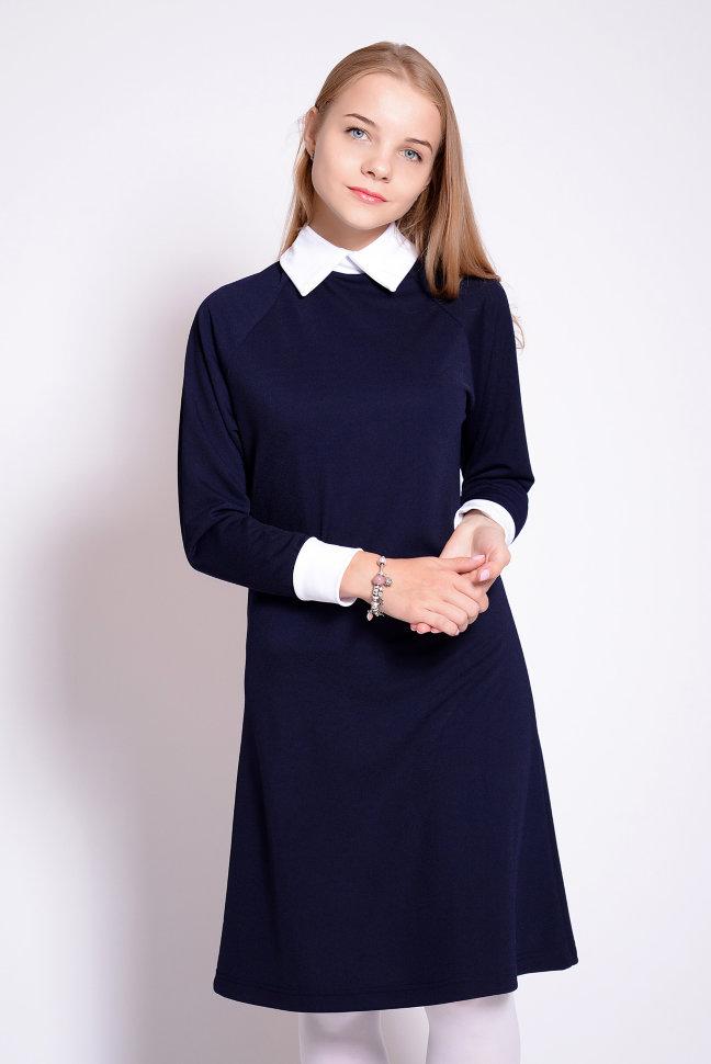 Темно синее школьное платье купить в