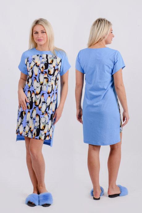 Домашнее платье Д 5 (голубой + принт пингвины)