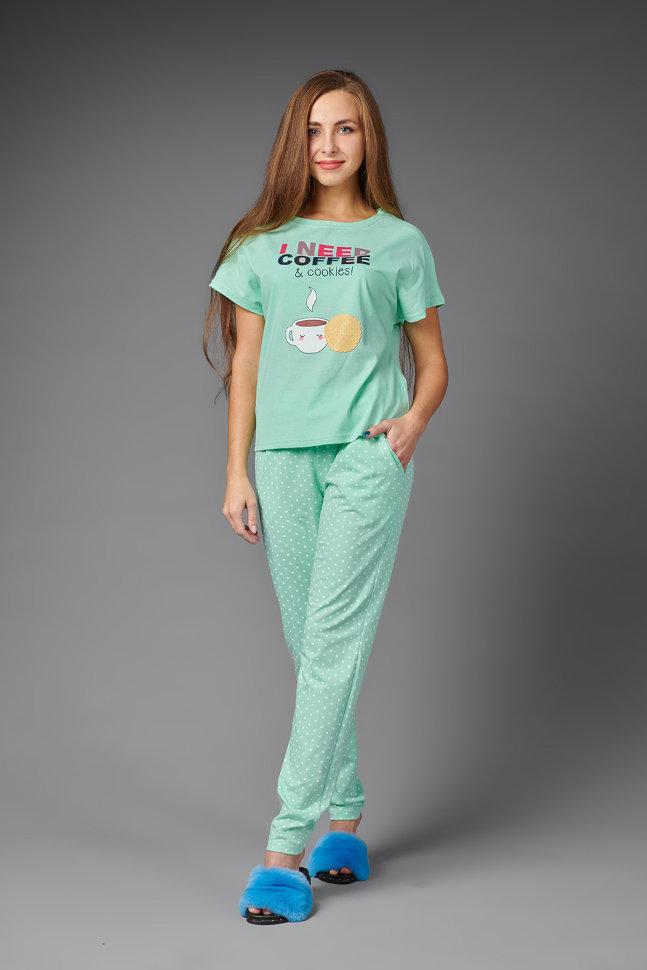 Пижама женская ЖП 026 (мятный с горохом)
