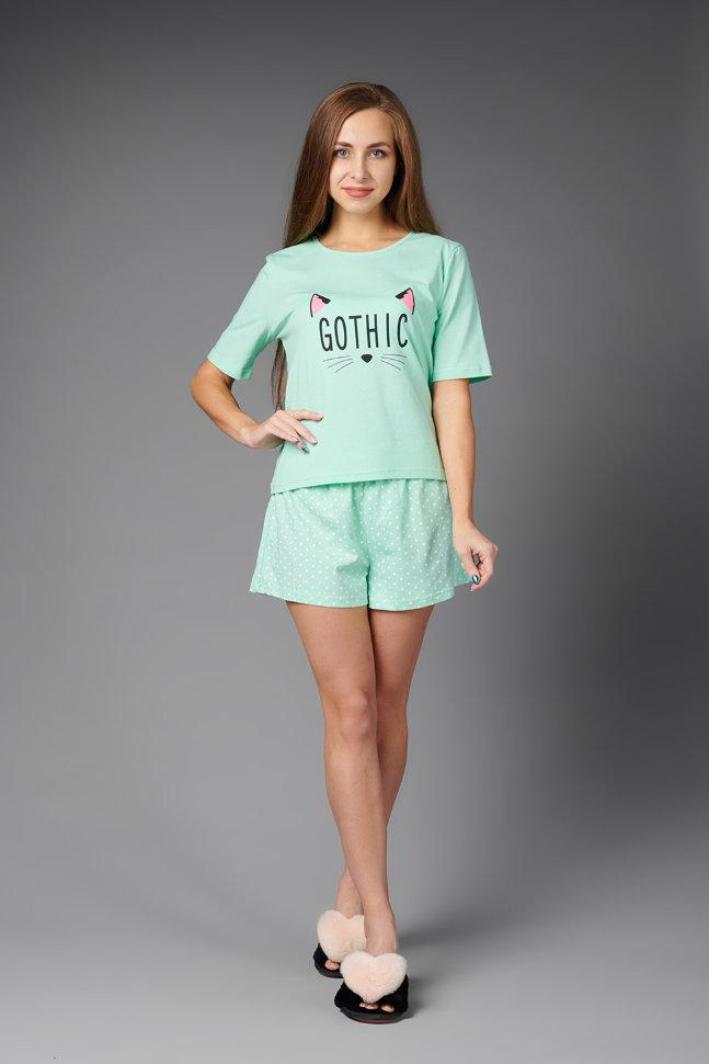 Пижама женская ЖП 033/1 (мятный с горохом)