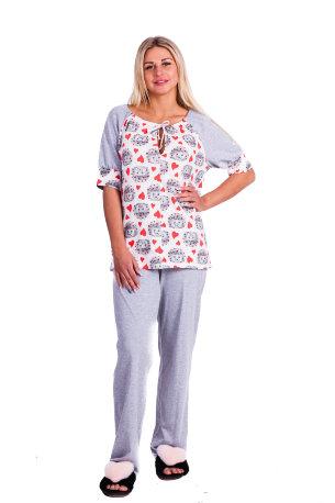 d21b0a9de19c8 Женские пижамы больших размеров. Домашний костюм Д 52 (принт ежики + серый)