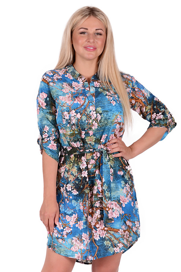 Платье П 684/1 (сакура на синем)