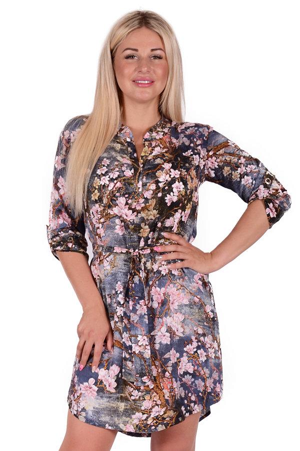 Платье П 684/1 (сакура на сером)