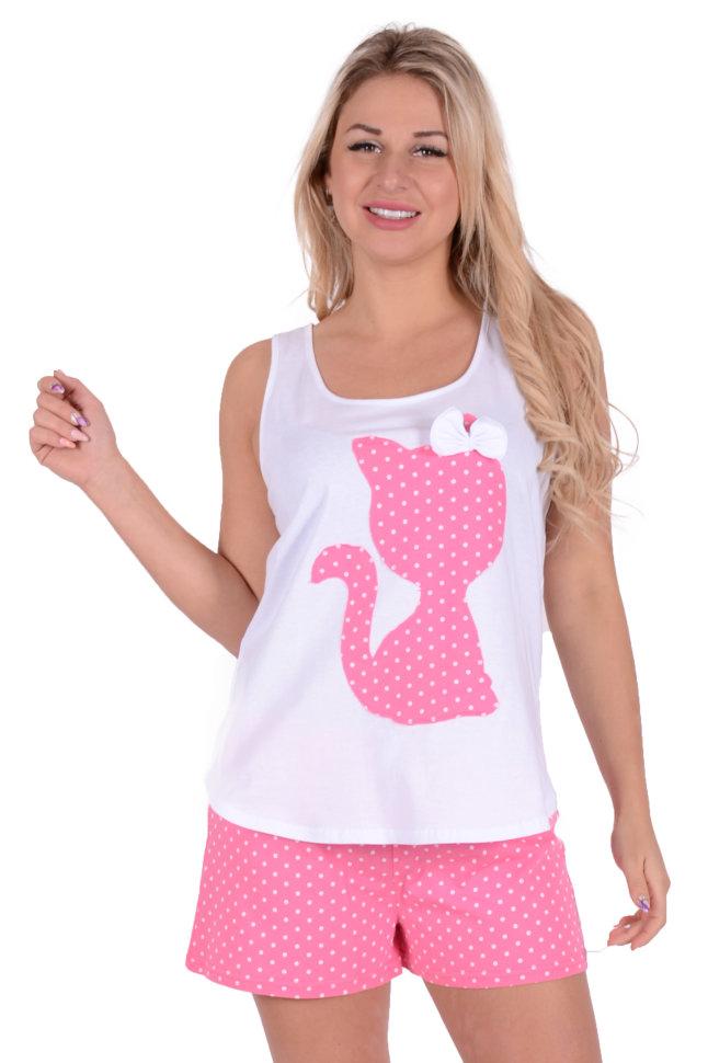 Женская пижама ЖП 011 (белый + горох на розовом) купить по цене 370 ... 27251eec211a2